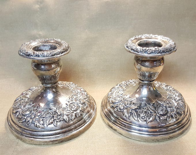 Kirk Repousse Pair of Sterling Silver Candlesticks Candle Holders Sticks - vintage