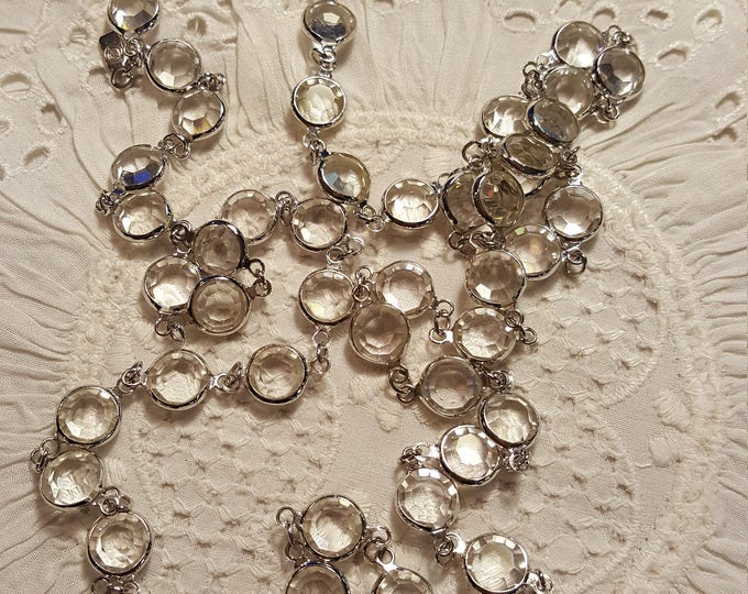"""On Sale - Swarovski brand Channel Set 18"""" Silvertone and Clear Sautoir Necklace Sparkly Clean Not Worn"""