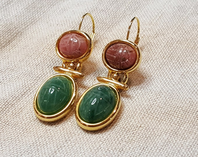 Vintage Scarab Dangle Earrings with Lever Back Yellow Goldtone W in square