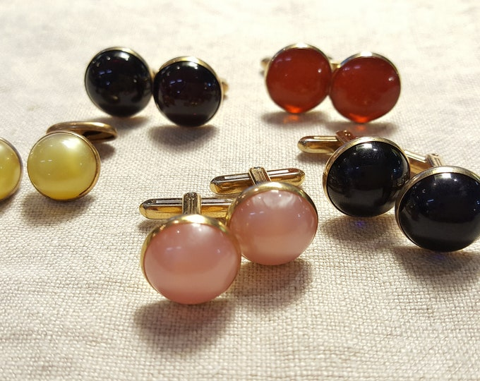 5 Pairs of Cuff Links Hickok Swank Color Round Cabochons Orange Pink Blue Red Yellow