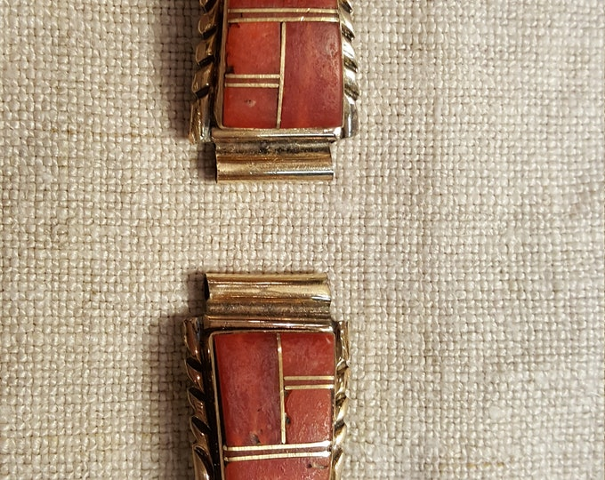 Native American Sterling and Coral Inlaid 2 Watch Parts Lady Signed AJ