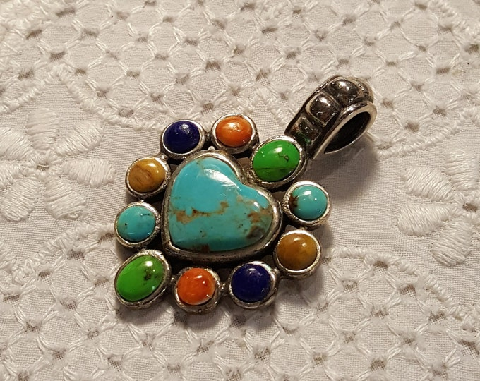 Reserved for Tia - Vintage Gemstone Heart Sterling Pendant Gem Turquoise