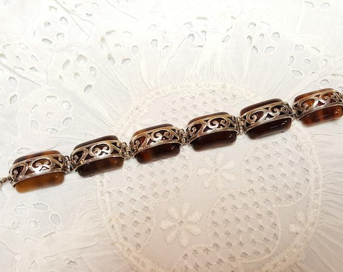 Sterling Silver and Faux Tortoise Shell Link Bracelet Vintage 1990s
