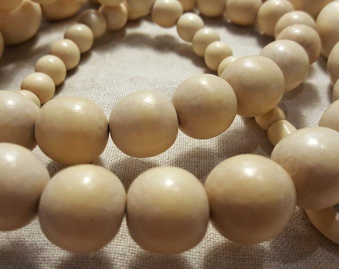 Jewelry Making Supplies Large Round Wood Beads Ivory Cream Beige 59