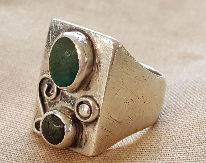 On Sale - Vintage Sterling Silver and Turquoise ART PLAT Mexico Ring US size 10 Man or Woman