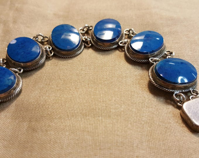 """On Sale - Sterling Silver Bracelet with Blue Stones Oval Cabs Vintage Short 6-1/2"""" Circumference"""