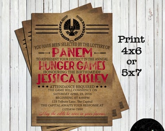 Hunger Games, Hunger Games Invitation, Hunger Games Birthday Party, Birthday Invitations, Birthday Party, Hunger Games Invites, Invitation