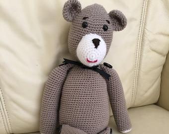 Handmade Crocheted Teddy; Amigurumi Bear; Stuffed Teddy Bear; Crochet Animal; Crochet Bear