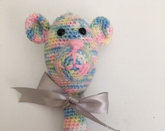 Crocheted Bear Rattle; Baby Toy; Rattle for Baby; Bear Rattle