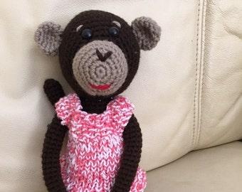 Handmade Crocheted Monkey; Amigurumi Toy; Small crochet Monkey; Stuffed Monkey