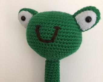 Froggie Rattle; Stuffed Baby Rattle; Crochet Frog Rattle
