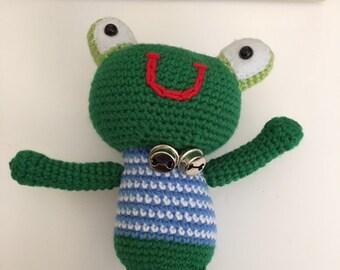 Handmade crocheted Froggy; Amigurumi Frog; Crochet Frog; Stuffed Frog; Stuffed Baby Toy
