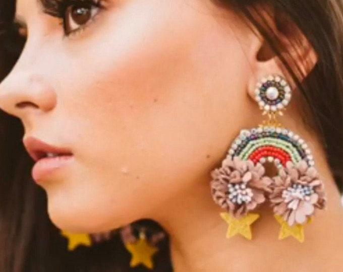 Beaded rainbow earrings, Stars earrings, Flower earrings, Handmade Statement earrings, celestial earrings dangle, wanderlust jewelry
