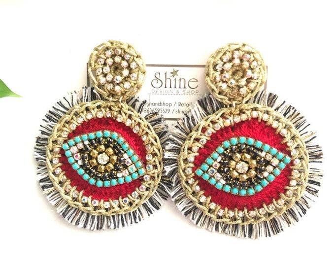 Crochet earrings , evil eye earrings, red earrings, handmade earrings, statement earrings, big earrings, light earrings.