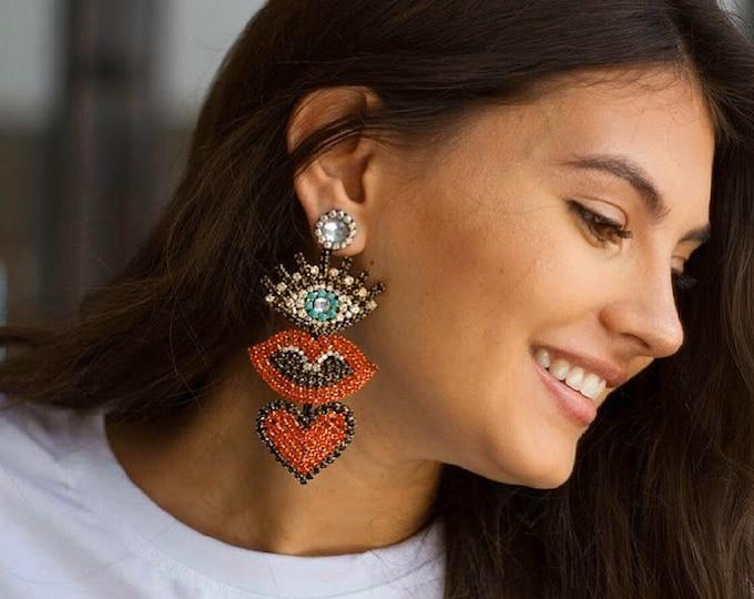 Oversized Evil eye earring, lip earrings, heart Earrings, protection earrings, handmade statement earrings, stunning earrings