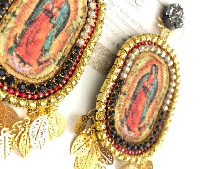 Virgin Guadalupe earrings, handmade earrings, Maria earrings, statement earrings, gold earrings, druzy earrings.