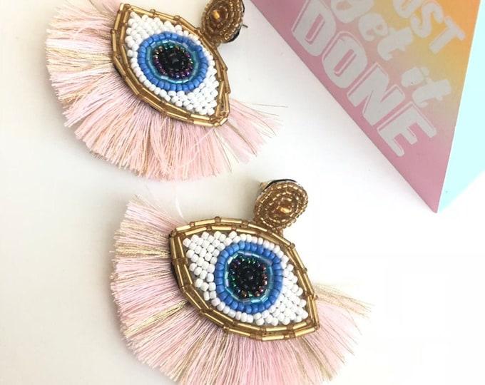 Handmade earrings, evil eye earrings, statement earrings, pink earrings, accessories, shine earrings.