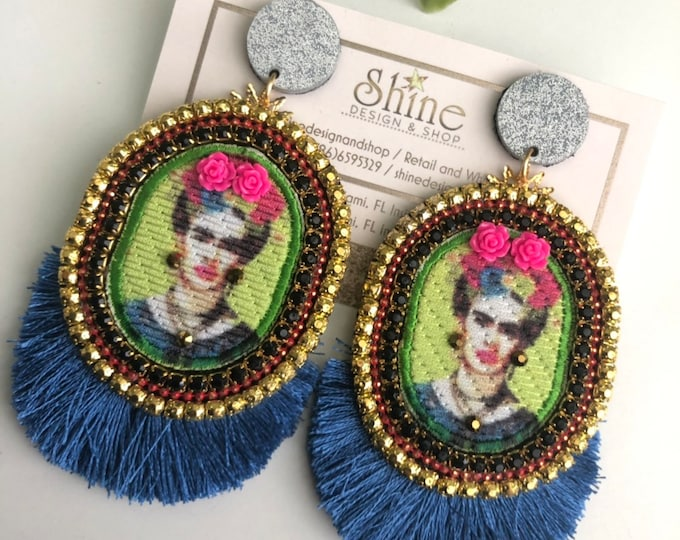 Frida Kahlo earrings. Handmade earrings. Statement earrings. Neon earrings.
