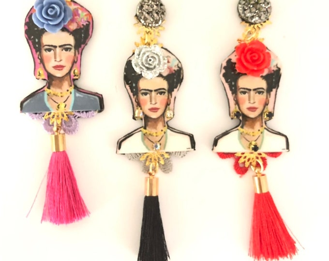 Handmade Frida Kahlo earrings. Tassel earrings. Statement earrings