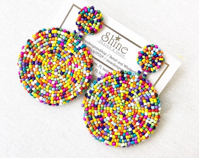 Handmade beaded multicolor earrings. Rainbow earrings. Statement earrings.