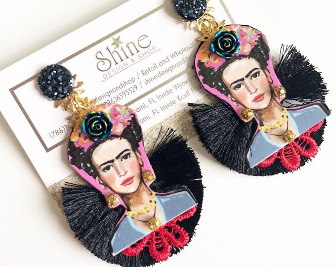 Handmade frida Kahlo earrings. Black tassel earrings. Statement earrings