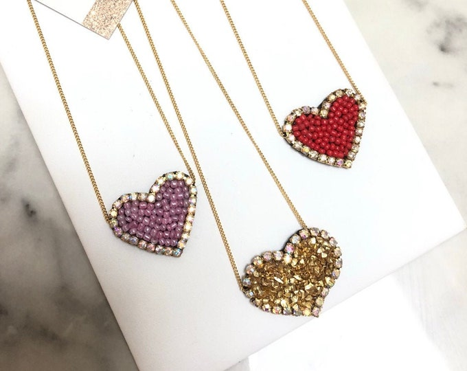 Heart necklace. Gold plated necklace. Handmade heart pendant.
