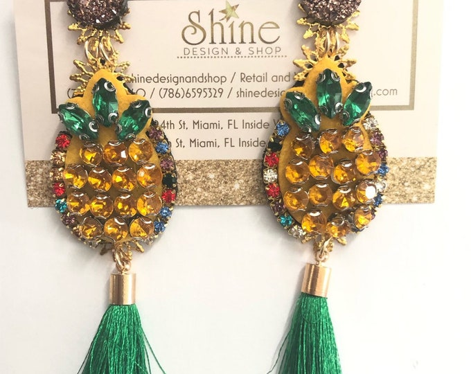 Small pineapple earrings. Handmade. Green tassel earrings. Statement.