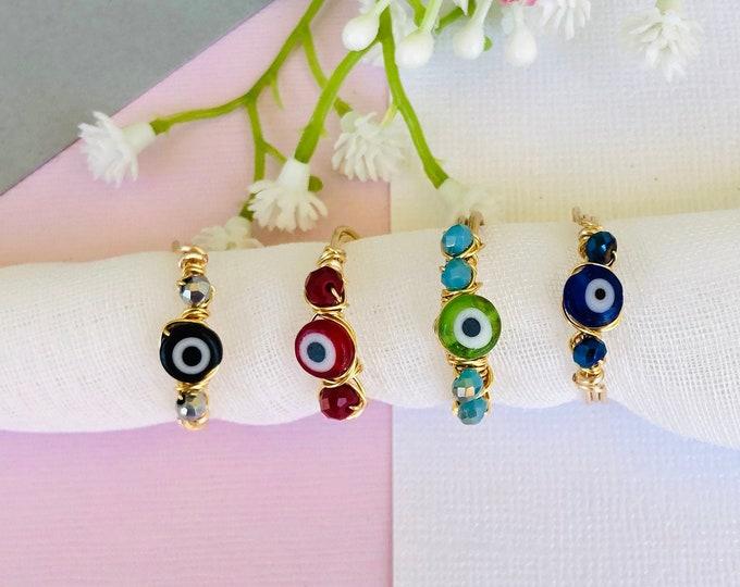 Evil eye ring, handmade gypsy ring, dainty protection ring, third eye ring, protection of amulet, statement ring, turkish eye ring