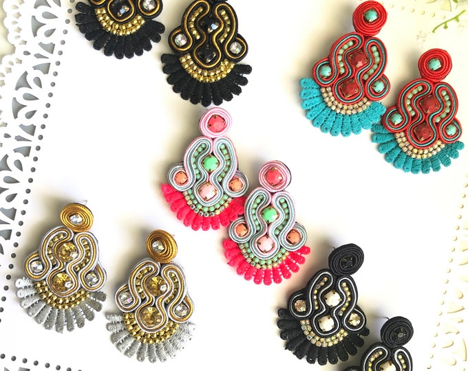 Handmade earrings. Statement earrings. Gold earrings. Soutache earrings. Silver earrings.