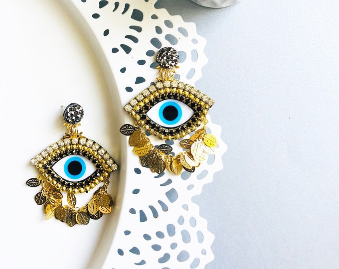 Evil Eye earrings. Handmade. Statement earrings. Protective charms. Luxury earrings.