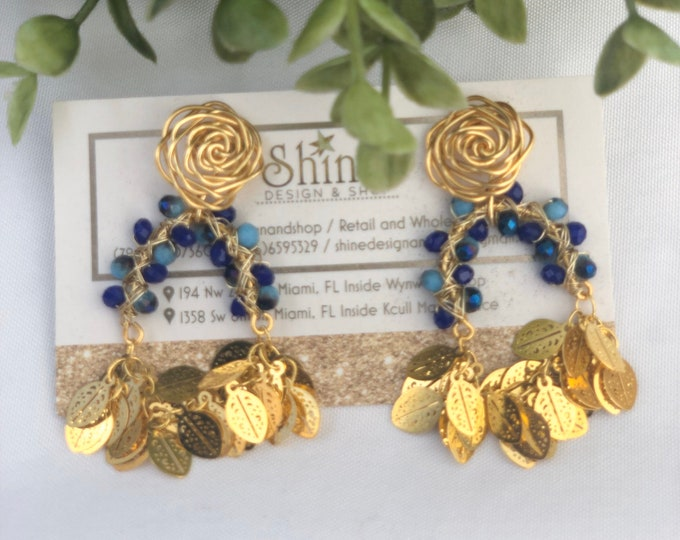 Handmade wire earrings. Blue earrings. Gold plated earrings. Silver earrings. Statement.