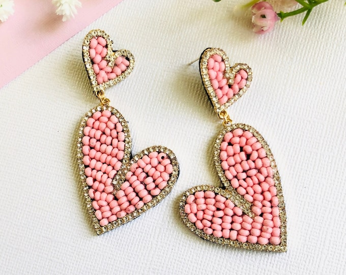Handmade Heart earrings, pink heart earrings, seed bead earrings, statement earrings, bold earrings, stunning earrings