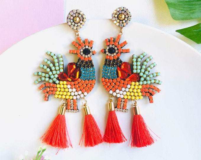 Chicken Rooster earrings, birds earrings, handmade statement earrings, oversized bird earrings, red tassel earrings, funny earrings