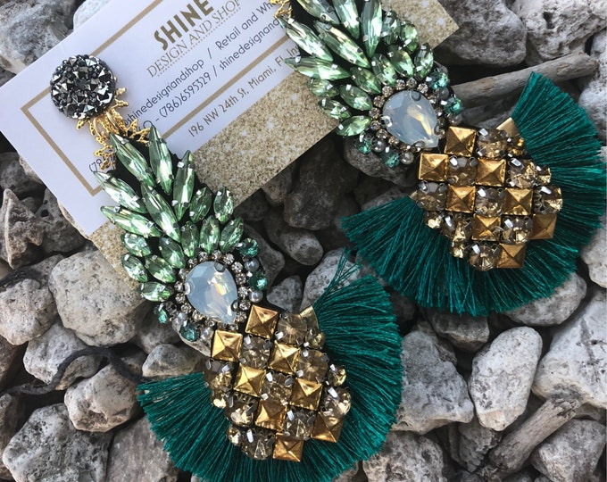 Pineapple earrings. Tassel earrings. Handmade. Tropical earrings. Summer jewelry.