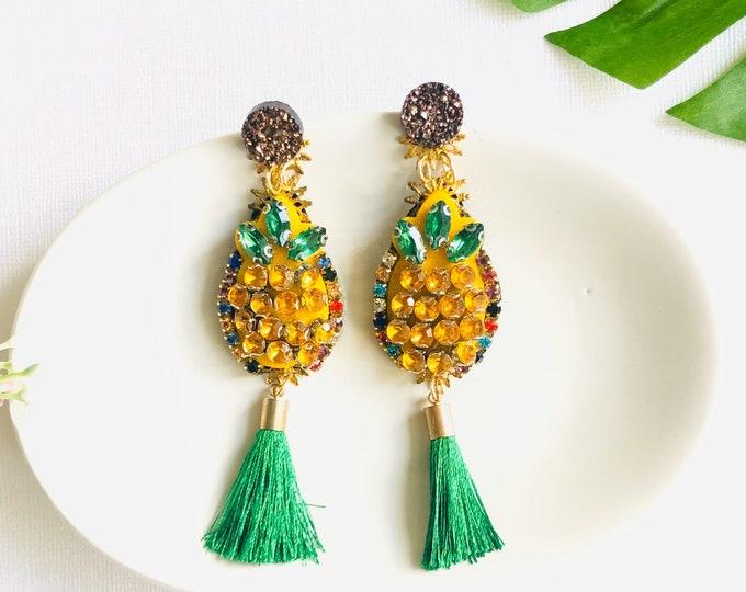 Handmade Pineapple earrings, fruit earrings, Green tassel earrings, funny earrings, statement earrings for summer, tropical earrings