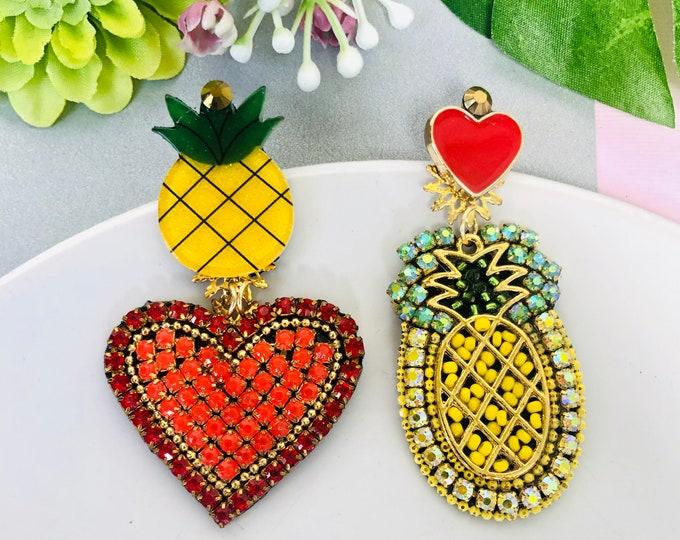 Beaded Pineapple earrings, heart earrings, asymmetric earrings, mismatched earrings, handmade fruit earrings, statement earrings for summer