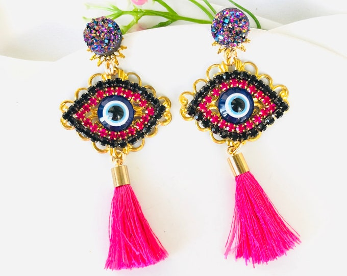 Evil eye tassel earrings, pink evil eye earring, handmade statement earrings, evil eye charm, rhinestone evil eye, evil eye earrings