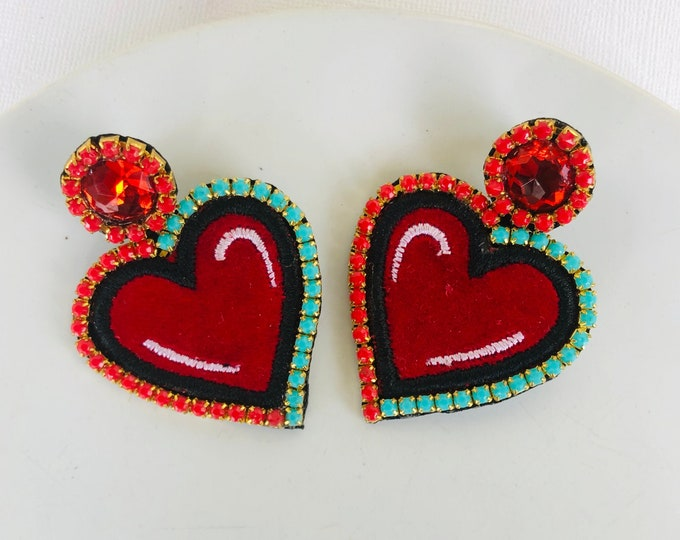 Red heart earrings, heart patch earrings, handmade statement earrings, big heart earrings, dainty love earrings, wanderlust jewelry