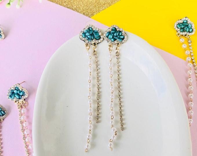 Rain cloud earrings, blue raindrop earrings, minimalist earrings, blue cloud earrings studs, white drop earrings, unique stud earrings