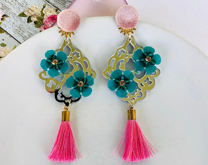 Big Flower earrings, pink tassel earrings, delicate floral earrings, handmade statement earrings, wanderlust jewelry, gifts for mom