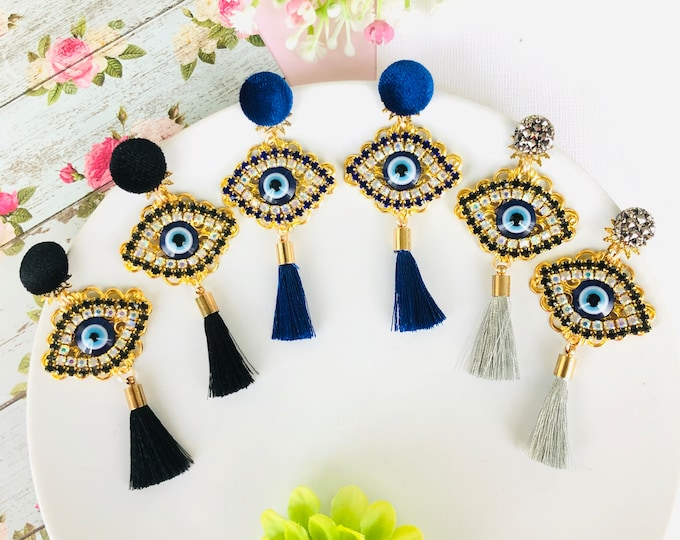 Evil Eye tassel earrings, statement earrings, rhinestone evil eye earring, turkish eye earrings, evil eye charm gold, evil eye jewelry