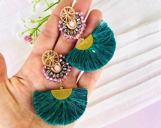 Wire Tassel Earrings, beaded dreamcatcher earrings, statement earrings, stunning earrings, beaded fringe earrings, colorful beaded earrings