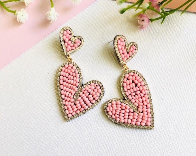 Handmade Heart earrings, pink heart earrings, seed bead earrings, statement earrings, bold earrings, stunning earrings
