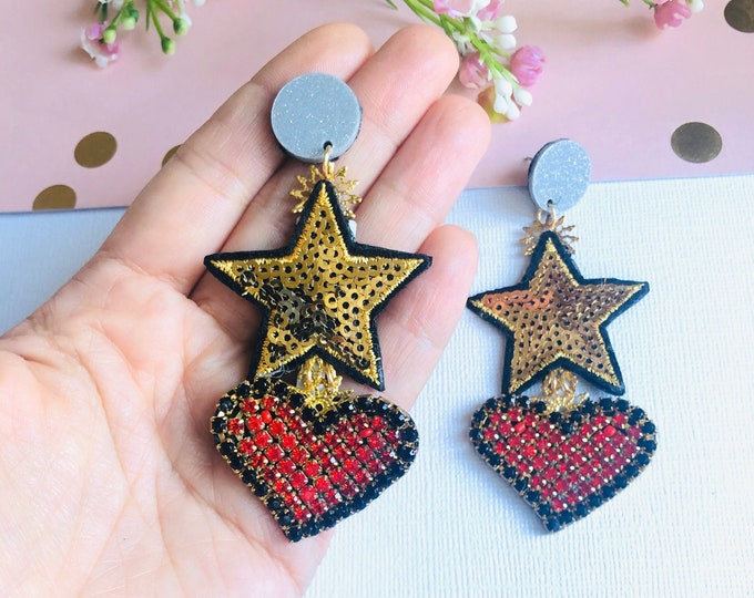 Handmade star earrings, Big Heart earrings, Statement earrings, stunning earrings, wanderlust earrings