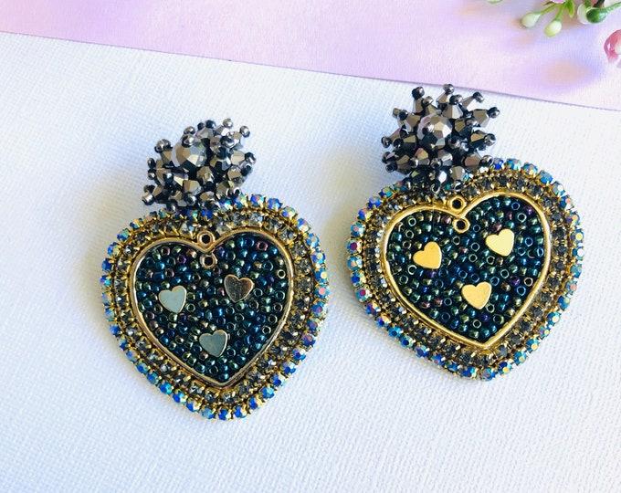 Black Heart earrings, handmade Statement earrings, seed bead earrings, wanderlust earrings, stunning earrings