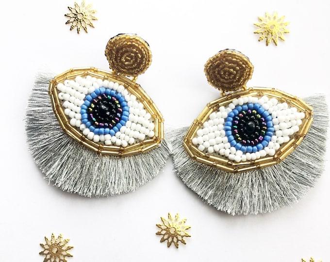 Beaded Evil eye earring, handmade statement earrings, silver tassel earrings, stunning earrings, wanderlust earrings, evil eye earrings