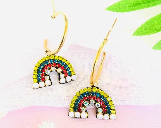 Rainbow hoop earrings, statement earrings, colorful hoop earrings, multicolored beaded earrings, hoop earrings with charm, funny earrings