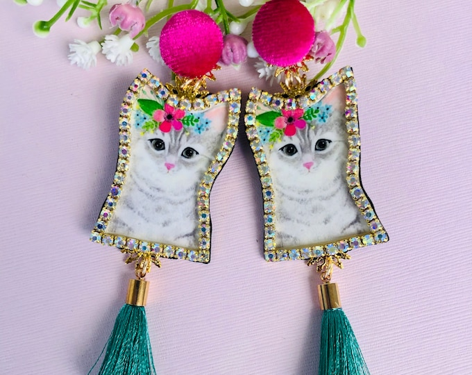 Kitty cat Earrings, green tassel earrings, statement earrings, funny earrings, handmade earrings, edgy earrings, wanderlust jewelry