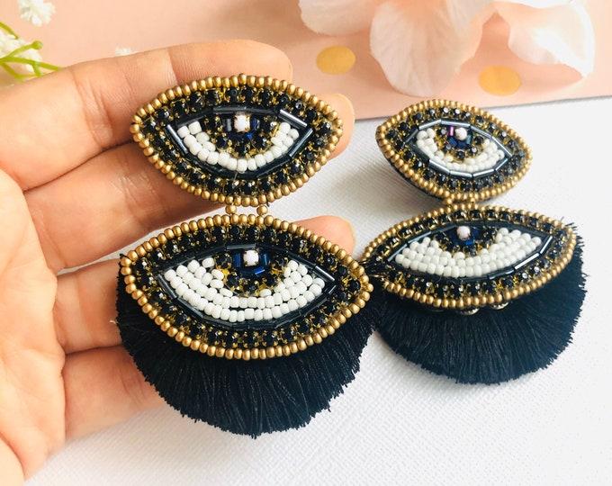 Beaded Evil eye earring, statement earrings, black tassel earrings, dainty evil eye, protection earrings, stunning earrings