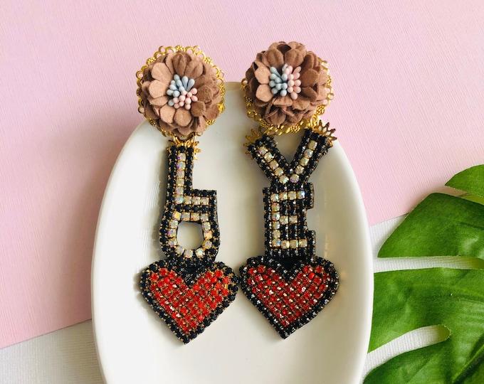 Love letter earrings, Heart earrings, Wanderlust earrings, Handmade Statement earrings, Flower earrings